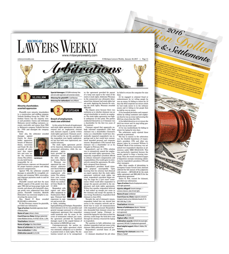 lawyers weekly million dollar settlements magazine cover
