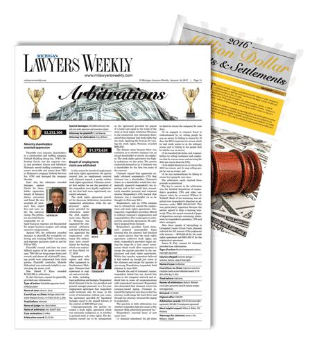 lawyers weekly million dollar settlements magazine cover